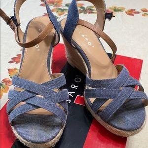 MBlue denim wedge shoes